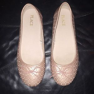 Children's Place big girl size 4 rose gold flats